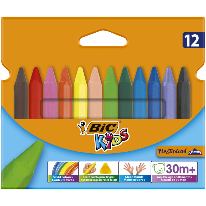 Kids Plastidecor Triangle Crayons 12-set in the group Kids / Kids' Pens / 3 Years+ at Pen Store (100257)