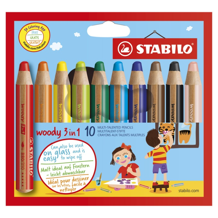 Woody 3-in-1 Coloring Pencils 10-set in the group Kids / Kids' Pens / 3 Years+ at Pen Store (100444)
