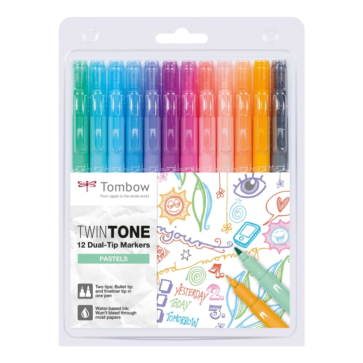 TwinTone Marker Pastel 12-pack in the group Pens / Artist Pens / Felt Tip Pens at Pen Store (101104)