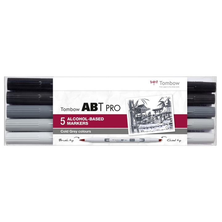 ABT PRO Dual Brush Pen 5-set Cold Grey in the group Pens / Artist Pens / Brush Pens at Pen Store (101259)