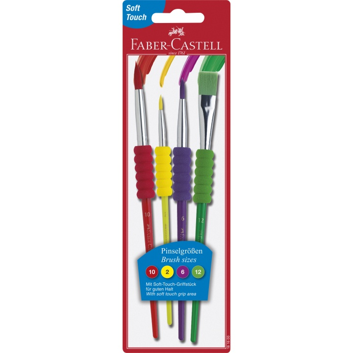 Brush Soft Grip - Set of 4 in the group Kids / Kids' Paint & Crafts / Paint Brushes for Kids at Pen Store (101396)