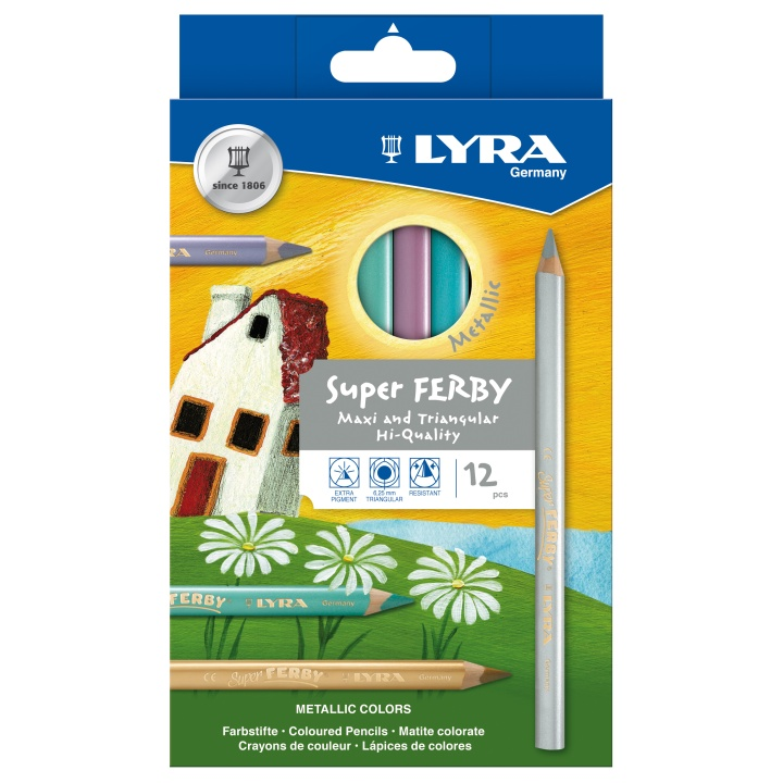 Super Ferby 12-set Metallic in the group Kids / Kids' Pens / Coloring Pencils for Kids at Pen Store (101580)