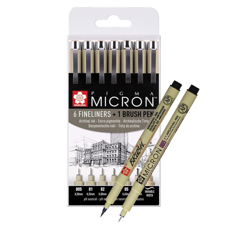 Pigma Micron Fineliner 6-set + 1 Brush Pen in the group Pens / Writing / Fineliners at Pen Store (103501)