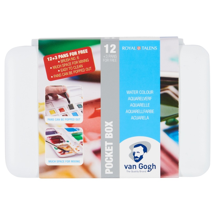 Van Gogh Pocket Box Water Color - Set of 15 in the group Art Supplies / Colors / Watercolor Paint at Pen Store (104063)