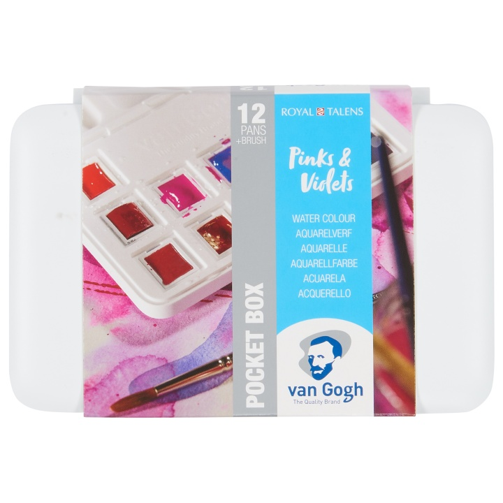 Van Gogh Pocket Box Water Color Pinks & Violets - Set of 12 in the group Art Supplies / Colors / Watercolor Paint at Pen Store (104066)