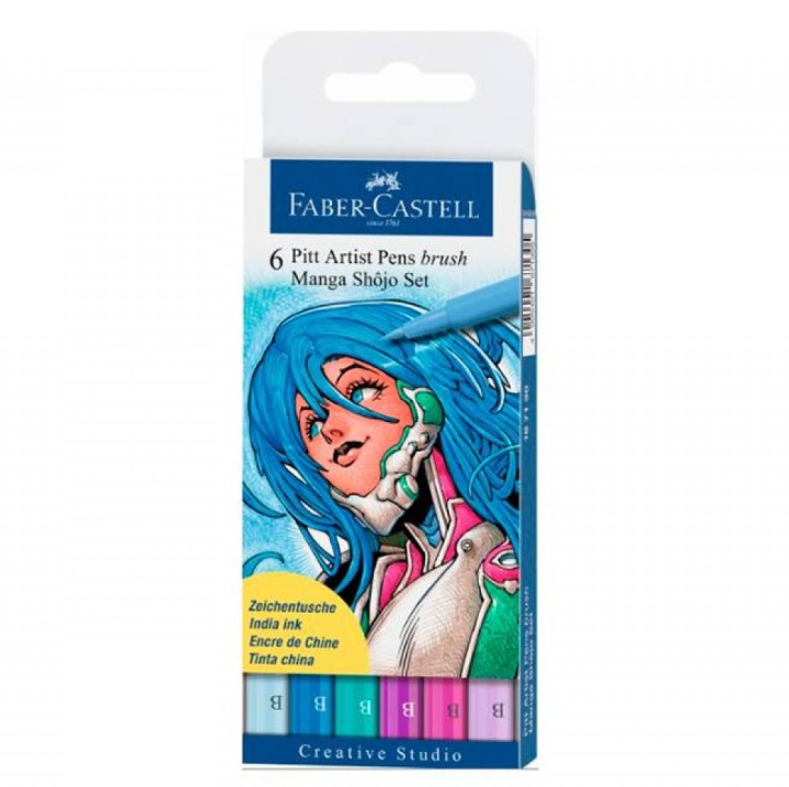 PITT Artist Brush 6-set Manga Shojo in the group Pens / Artist Pens / Brush Pens at Pen Store (105147)