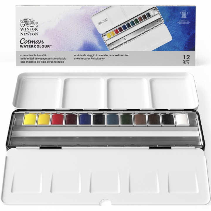 Cotman Water Colors Blue Box 12 Half Pans in the group Art Supplies / Colors / Watercolor Paint at Pen Store (107241)