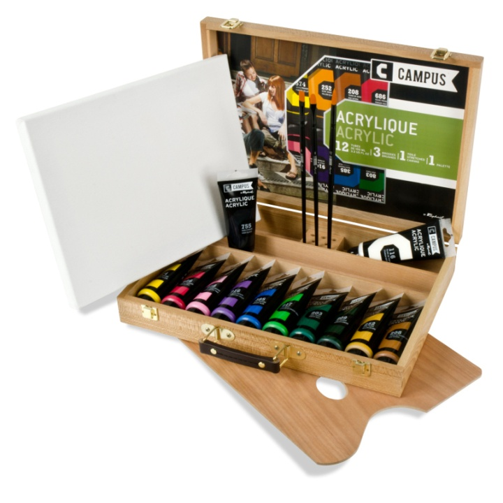 Campus Wood Case Acrylic Color 12x100 ml Tubes in the group Art Supplies / Colors / Acrylic Paint at Pen Store (108326)