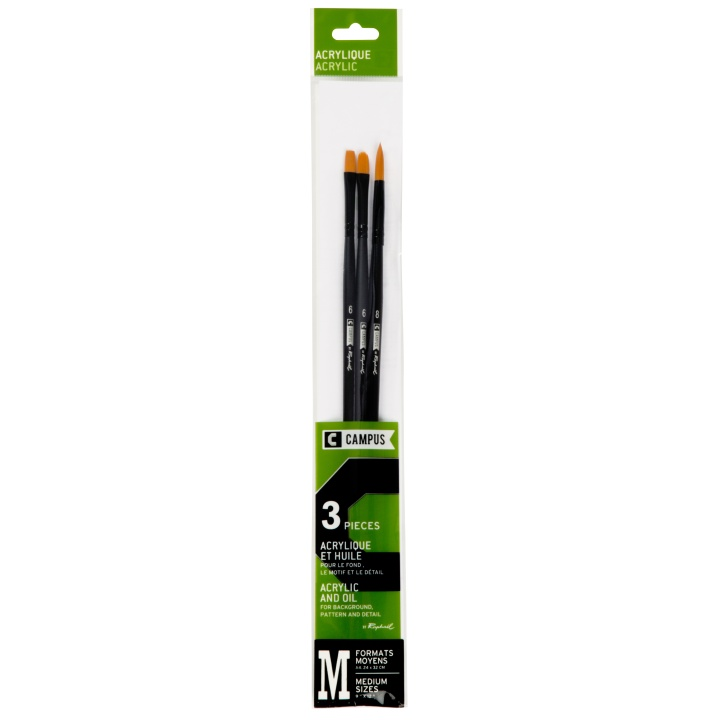 Campus Acrylic Brush 3-set M in the group Art Supplies / Brushes / Synthetic Brushes at Pen Store (108370)