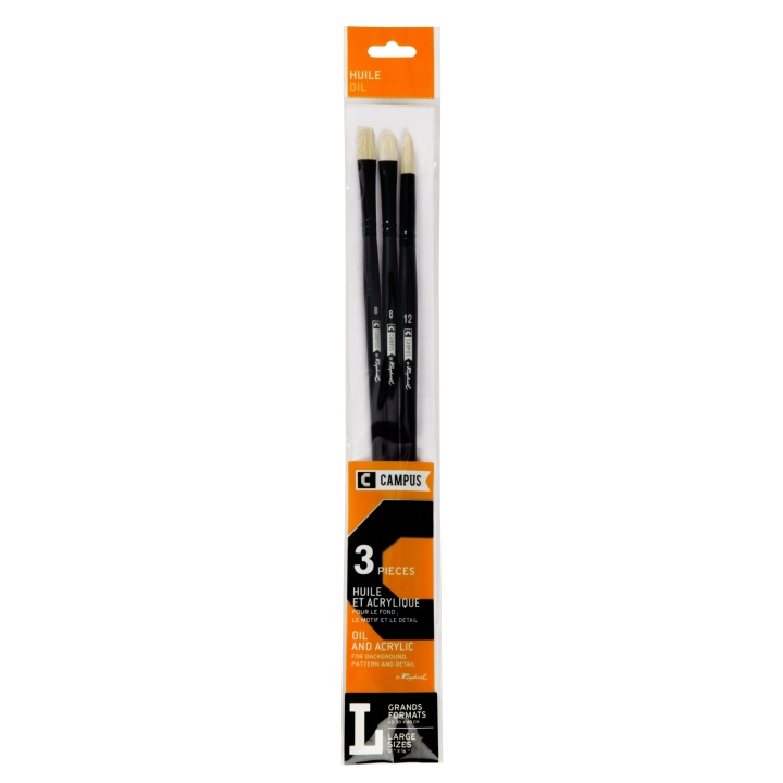 Campus Oil Brush 3-set L in the group Art Supplies / Brushes / Oil Brushes at Pen Store (108374)