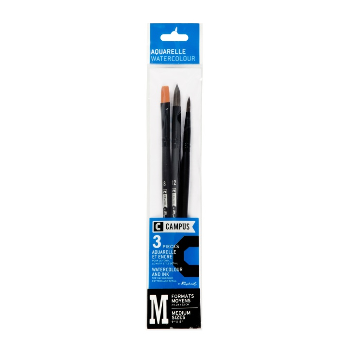 Campus Watercolour Brush 3-set M in the group Art Supplies / Brushes / Synthetic Brushes at Pen Store (108377)