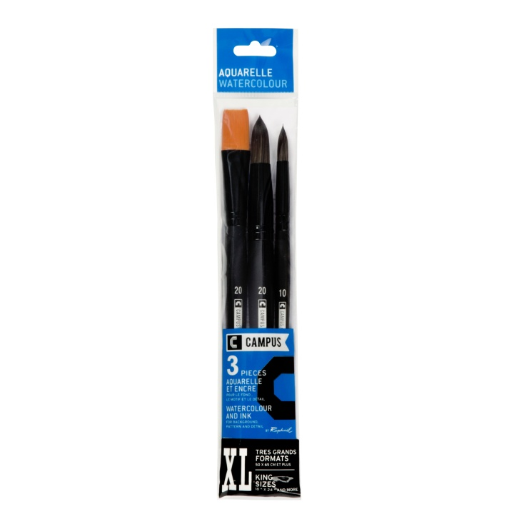 Campus Watercolour Brush 3-set XL in the group Art Supplies / Brushes / Synthetic Brushes at Pen Store (108379)