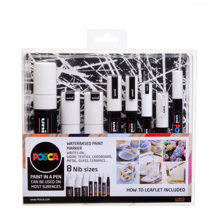 Posca Marker White - Set of 8 in the group Pens / Artist Pens / Illustration Markers at Pen Store (110419)