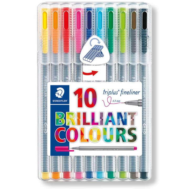 Triplus Fineliner 10-pack in the group Pens / Artist Pens / Felt Tip Pens at Pen Store (110868)