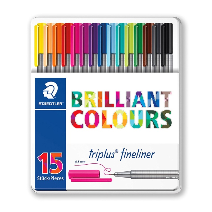 Triplus Fineliner 15-set metal tin in the group Pens / Artist Pens / Felt Tip Pens at Pen Store (111127)