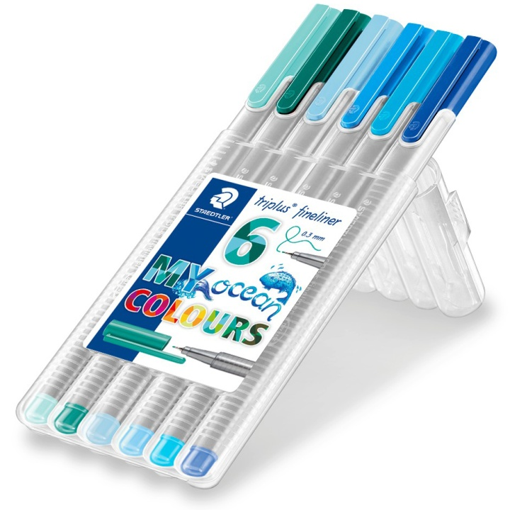 Triplus Fineliner Ocean 6-pack in the group Hobby & Creativity / Create / Bullet Journaling at Pen Store (111241)