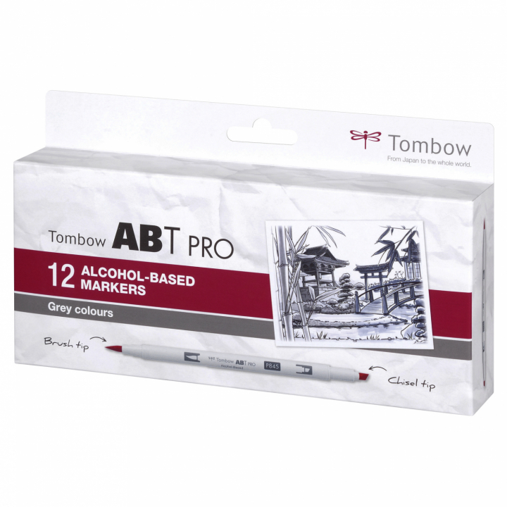 ABT PRO Dual Brush Pen 12-set Grey in the group Pens / Artist Pens / Illustration Markers at Pen Store (125260)
