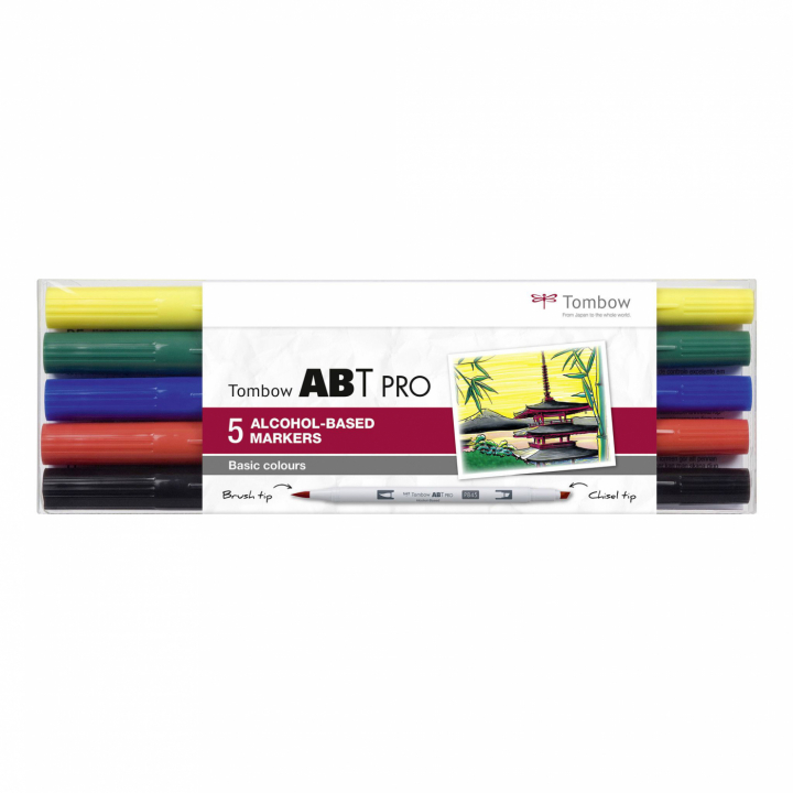 ABT PRO Dual Brush Pen 5-set Basic in the group Pens / Artist Pens / Illustration Markers at Pen Store (125264)