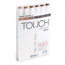 Twin Brush Marker 6-set Wood